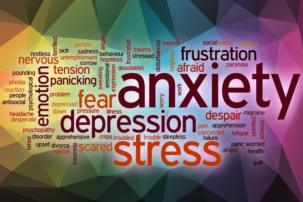 Anxiety word cloud concept with abstract background